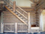 Montana Log Home Stairway With Twigs