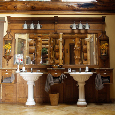 Gorgeous Pedestal Sinks in Log Home Bathroom, Big Sky