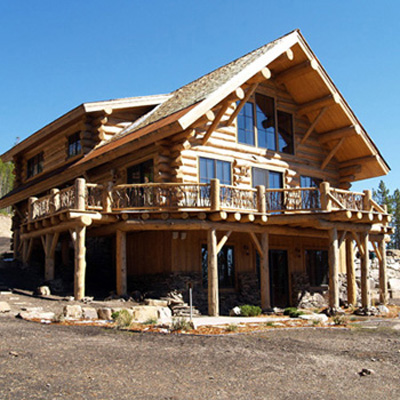 Log Home Balcony, Big Sky MT