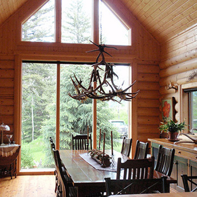 Unique Antler Chandelier in a Big Sky Log Home