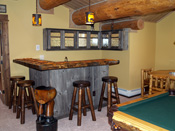 Big Sky Log Home Wood Top Bar