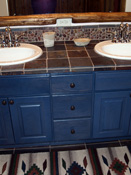 Blue Bathroom Cabinets, Big Sky MT