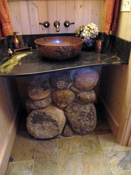 Rock base sink in log home, Bozeman MT