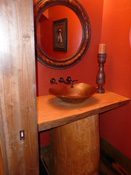 Unique Wood Pedestal Bathroom Counter, MT